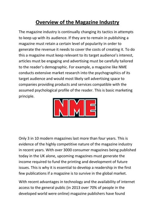 Overview of the Magazine Industry