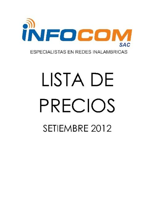 Lista de Precios Setiembre 2012 wifi INFOCOM