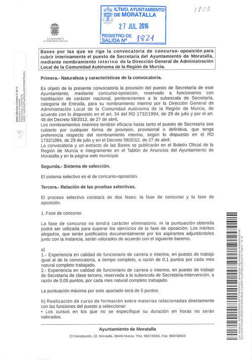 BASES CONVOCATORIA PUESTO DE SECRETARÍA DEL AYTO. MORATALLA
