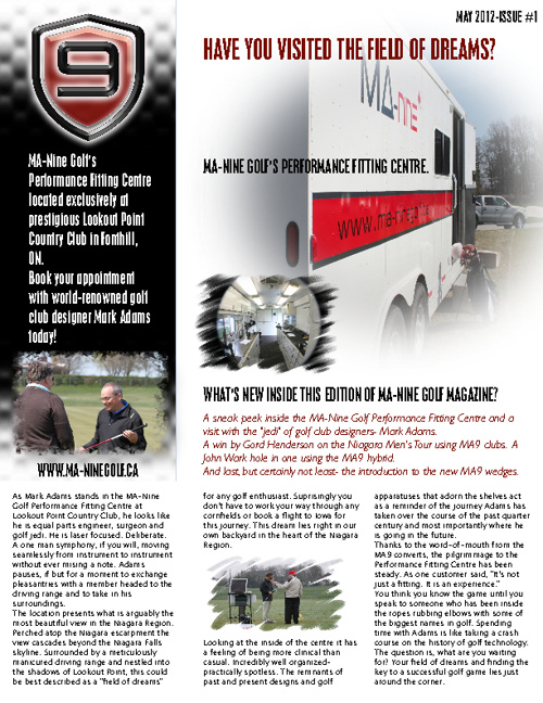 MA-Nine Golf- May 2012 Newsletter ISSUE #1