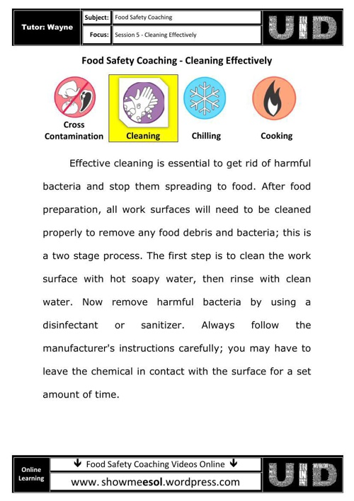 05 - Food safety coaching  - Effective Cleaning