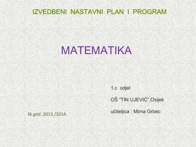 MATEMATIKA - IZVEDBENI NASTAVNI PLAN I PROGRAM  (rujan)
