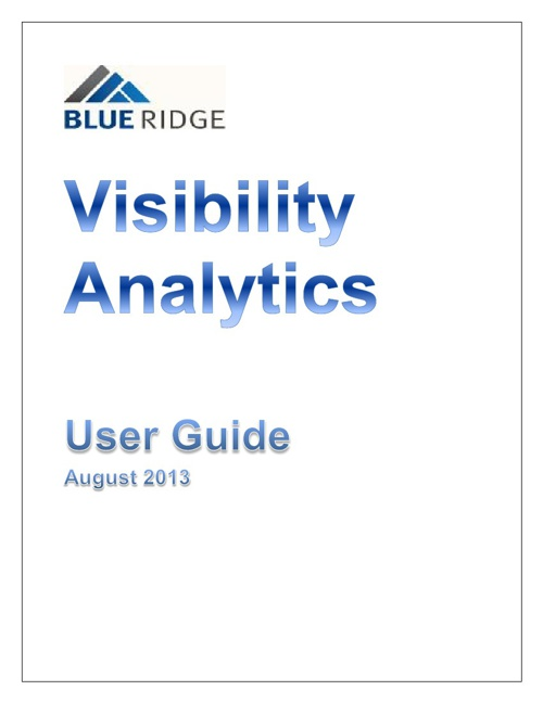 Blue Ridge User Guide for Lifeline Visibility Analytics