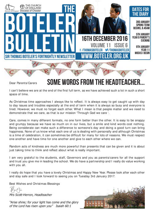 Boteler Bulletin 16th December 2016