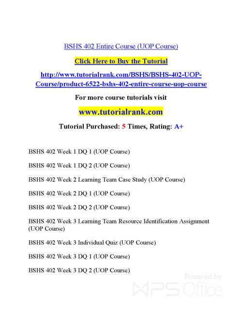 BSHS 401  Course Success Begins / tutorialrank.com