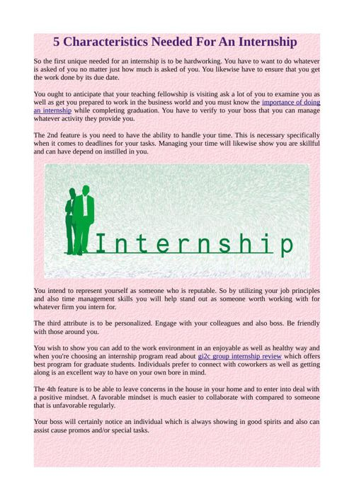 5 Characteristics Needed for an internship