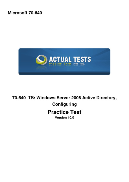 70-640 TS: Windows Server 2008 Active Directory Configuring Prac