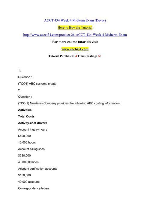 ACCT 434 Week 4 Midterm Exam (Devry)
