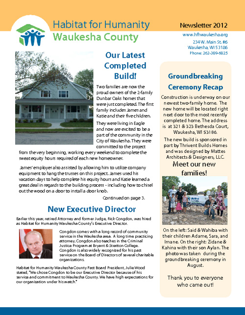 Habitat for Humanity Waukesha County Newsletter 2012
