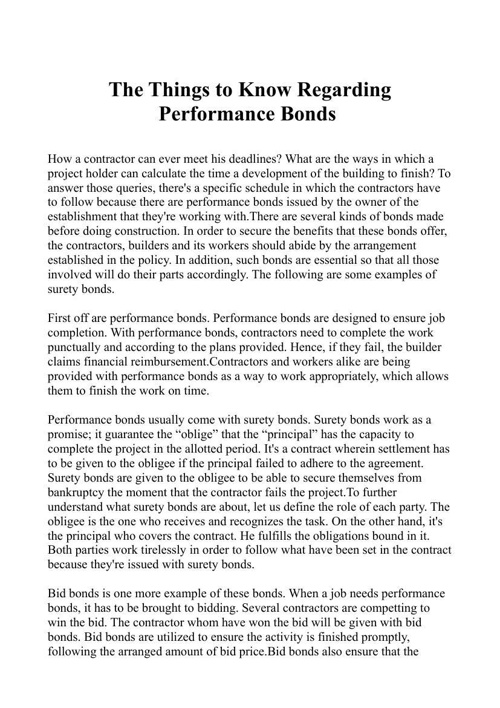 The Things to Know Regarding Performance Bonds