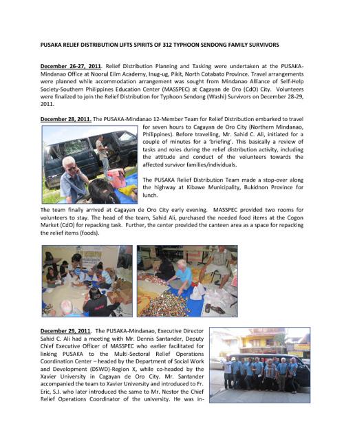 Pusaka Relief Distribution