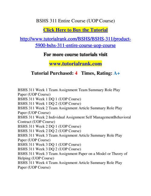 BSHS 311 Course Success Begins / tutorialrank.com