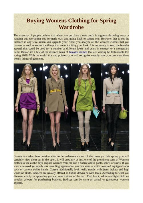 Buying Womens Clothing for Spring Wardrobe