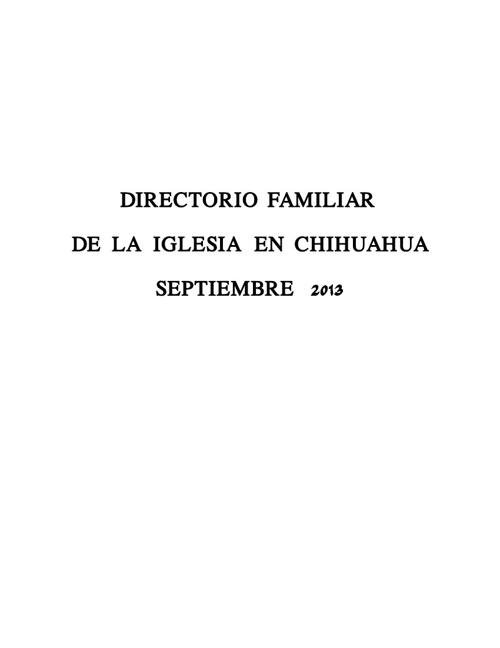 DIRECTORIO FAMILIAR DE LA IGLESIA EN CHIHUAHUA SEPTIEMBRE 2013
