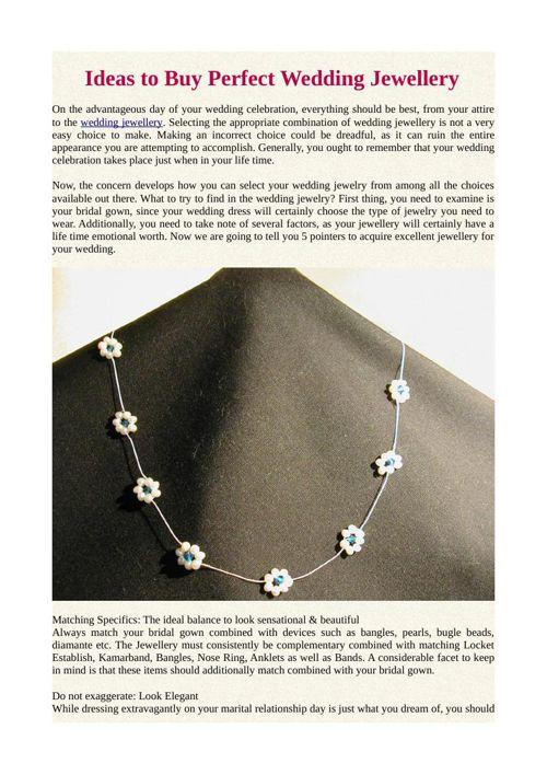 Ideas to Buy Perfect Wedding Jewellery