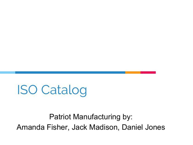 ISO Catalog Done