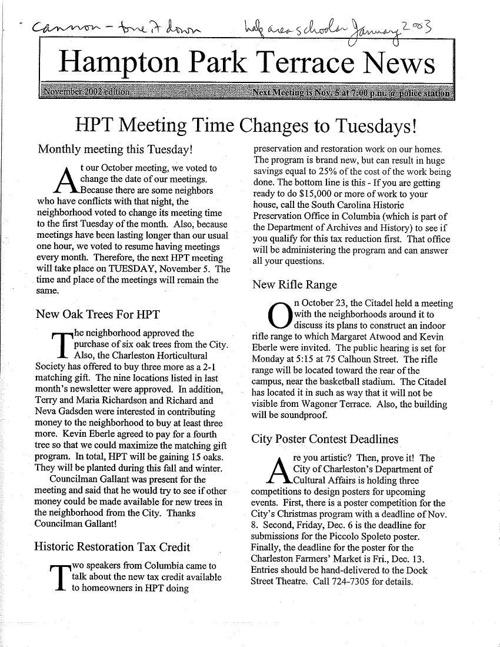 HPT Newsletter November 2002