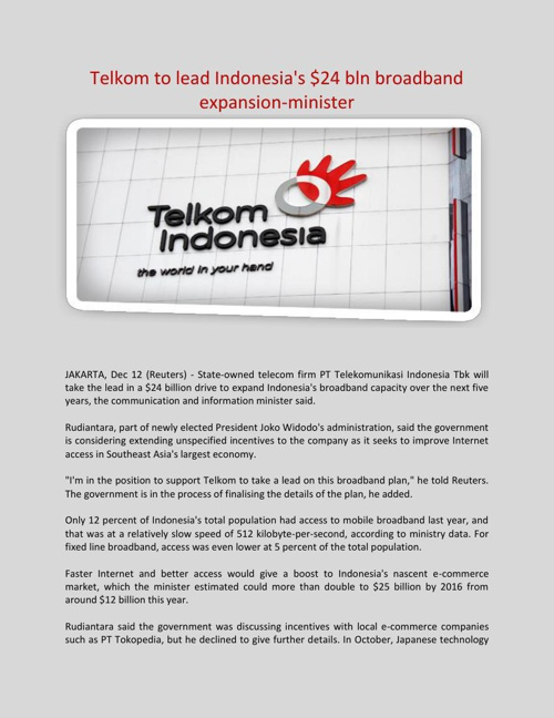 Telkom to lead Indonesia's $24 bln broadband expansion-minister