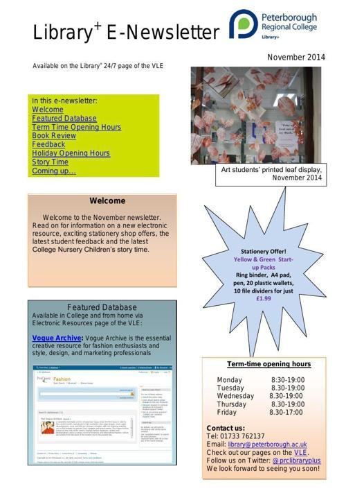 E-Newsletter Nov 2014