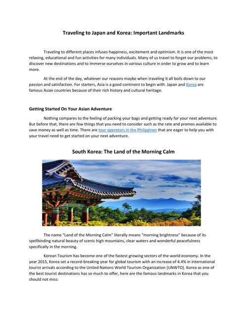Traveling to Japan and Korea - Important Landmarks