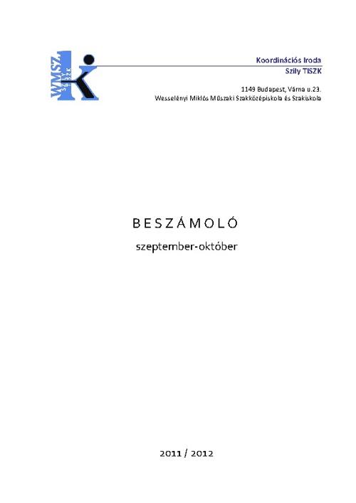 Beszámoló 2011/2012 09/10