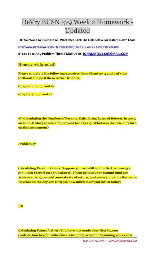 DeVry BUSN 379 Week 2 Homework - Updated