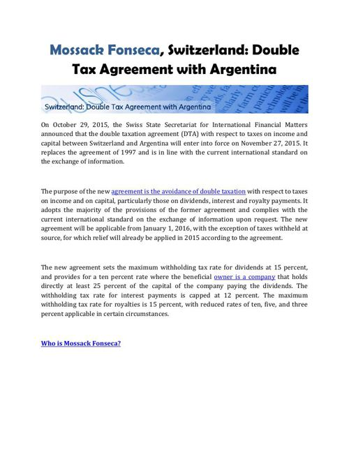 Mossack Fonseca, Switzerland: Double Tax Agreement with Argentin