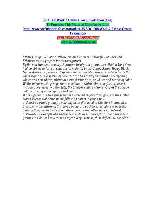 SOC 308 Week 2 Ethnic Group Evaluation (Ash)