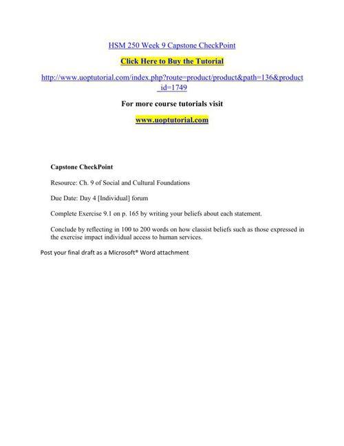 HSM 250 Week 9 Capstone CheckPoint