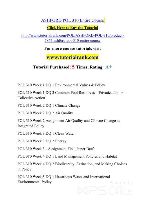 POL 310 Potential Instructors / tutorialrank.com
