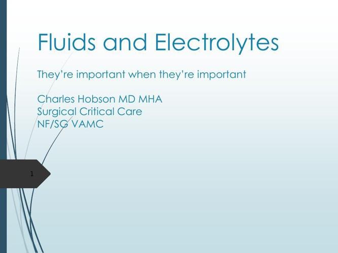 Fluids and ElectrolytesHobson