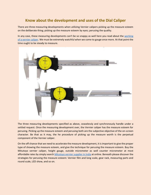 Know about the development and uses of the Dial Caliper