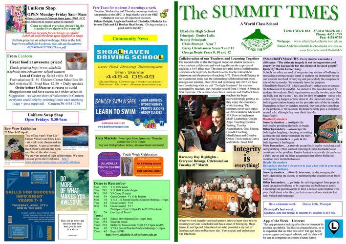 Week 10A Term 1 Summit Times 2017