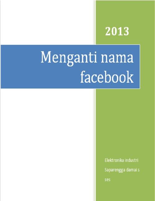 cara menganti nama facebook