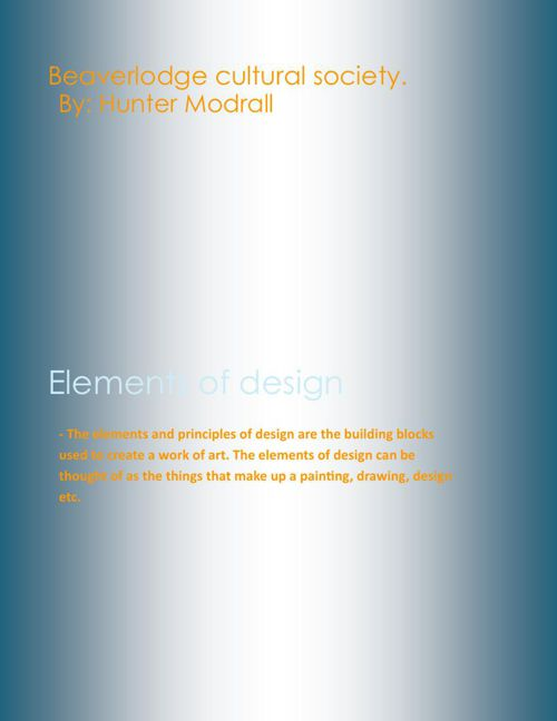 Elements of design mannual By Hunter Modrall