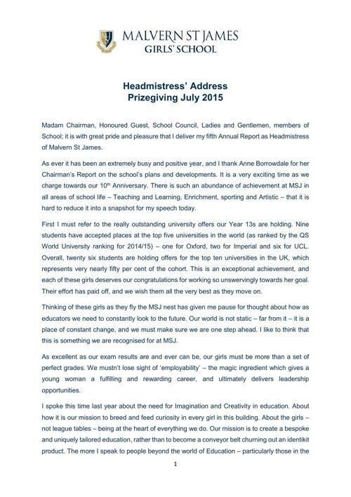 Headmistress Address Prizegiving July 2015