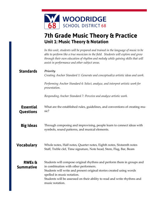 7th Grade Music Theory & Practice