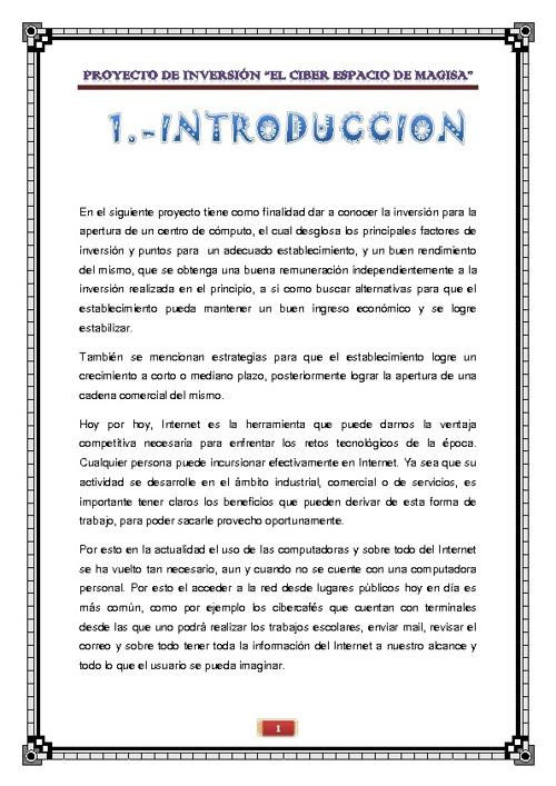 PROYECTO DE INVERSION EL CIBER ESPACIO DE MAGISA