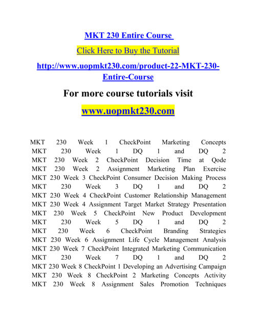 MKT 230 Course Real Tradition,Real Success / mkt230dotcom