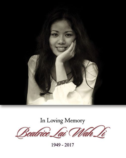 Memorial Card for Beatrice Lai Wah Li