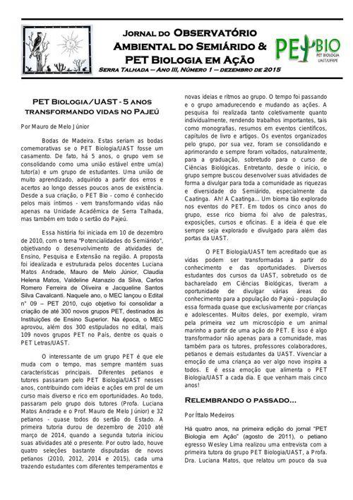 Jornal especial 5 anos do PETBiologia/UAST
