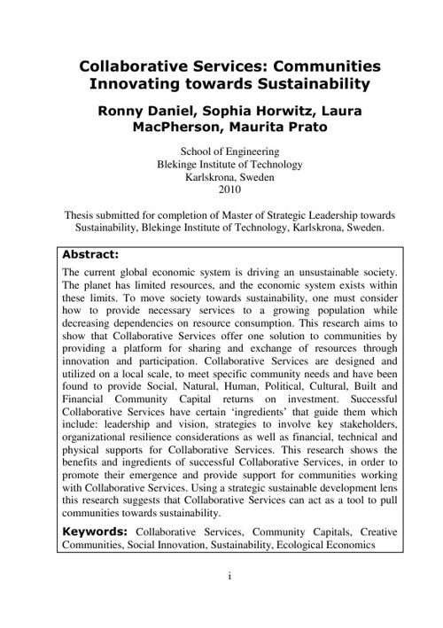 Co-Authored Thesis. Collaborative Services