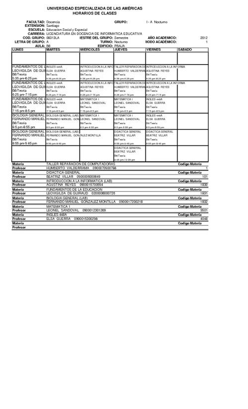 Horarios Esc. Social y Especial I Semestre 2012