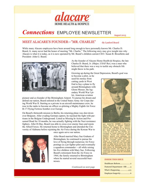 Connections Alacare Employee Newsletter August 2013