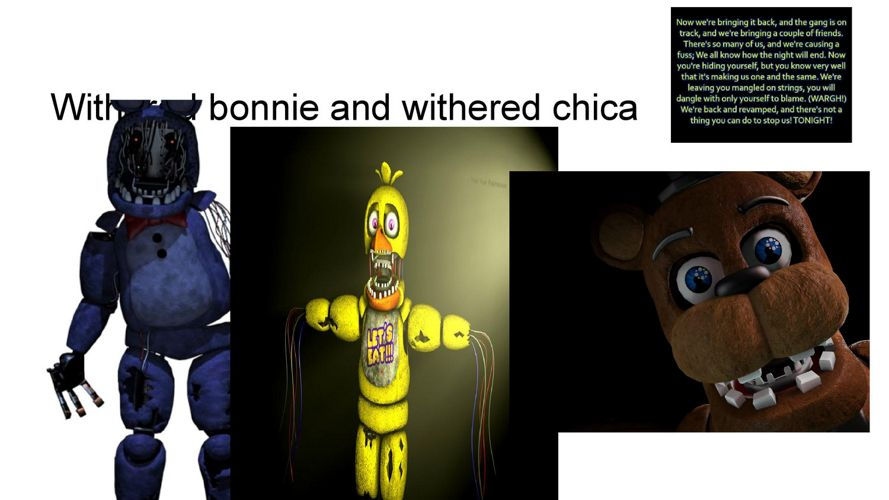 Whithered bonnie and withered chica and withered freddy