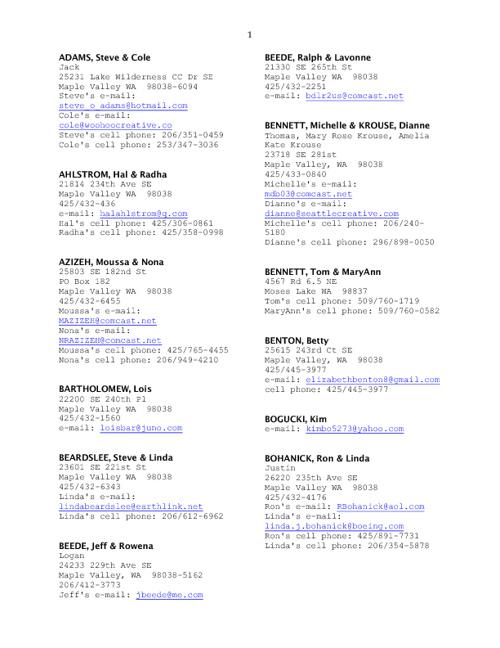 St George Member Directory