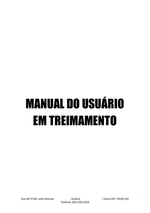 MANUAL DO USUÁRIO EM TREIMAMENTO
