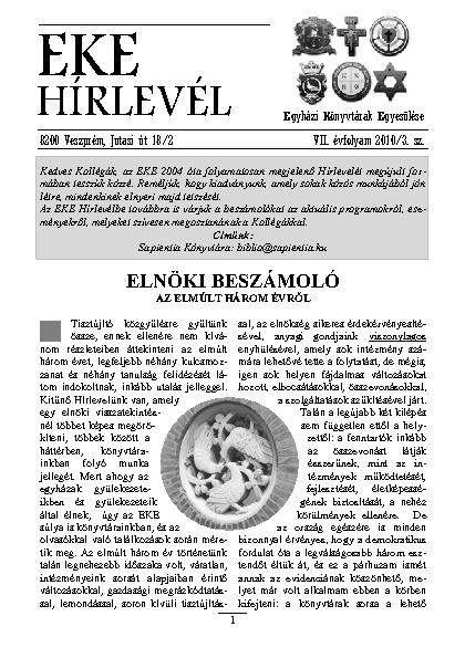 EKE HÍRLEVÉL 2010. 7. évfolyam 3. szám