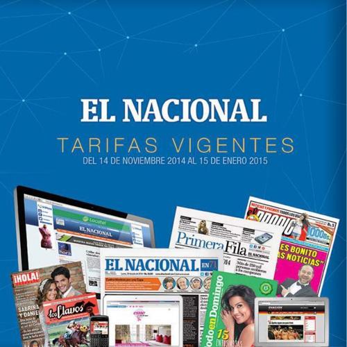Tarifas Publicitarias Noviembre 2014 Enero 2015 - El Nacional