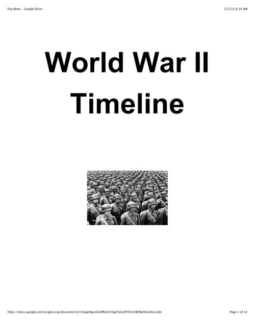 Copy of World War II Timeline